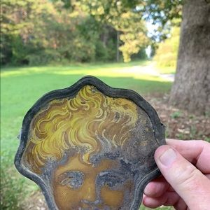 Antique 19 C German Hinterglasmalerei Cherub Face
